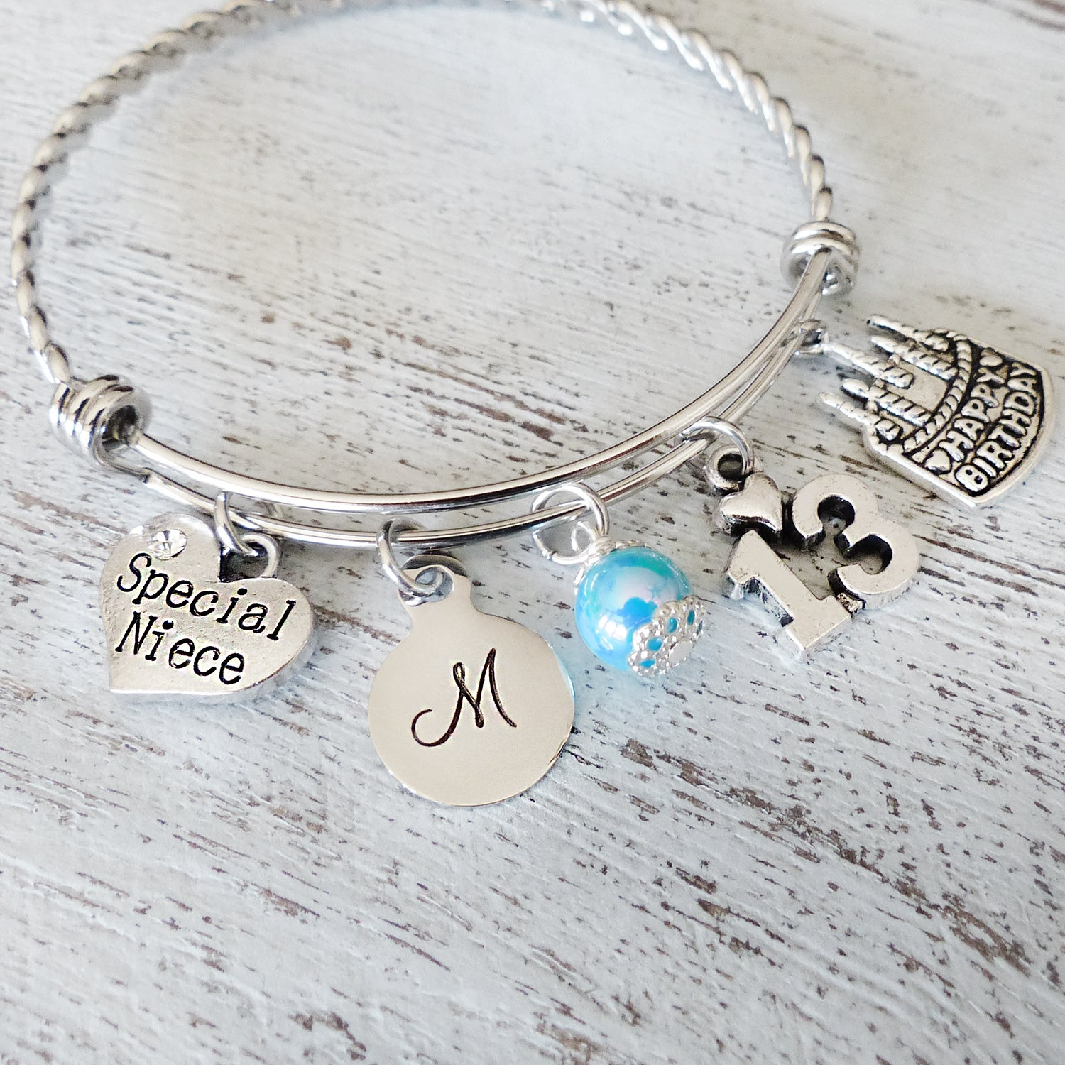 Niece 13th Birthday GIFT Personalized Bangle Bracelet Happy Jewelry