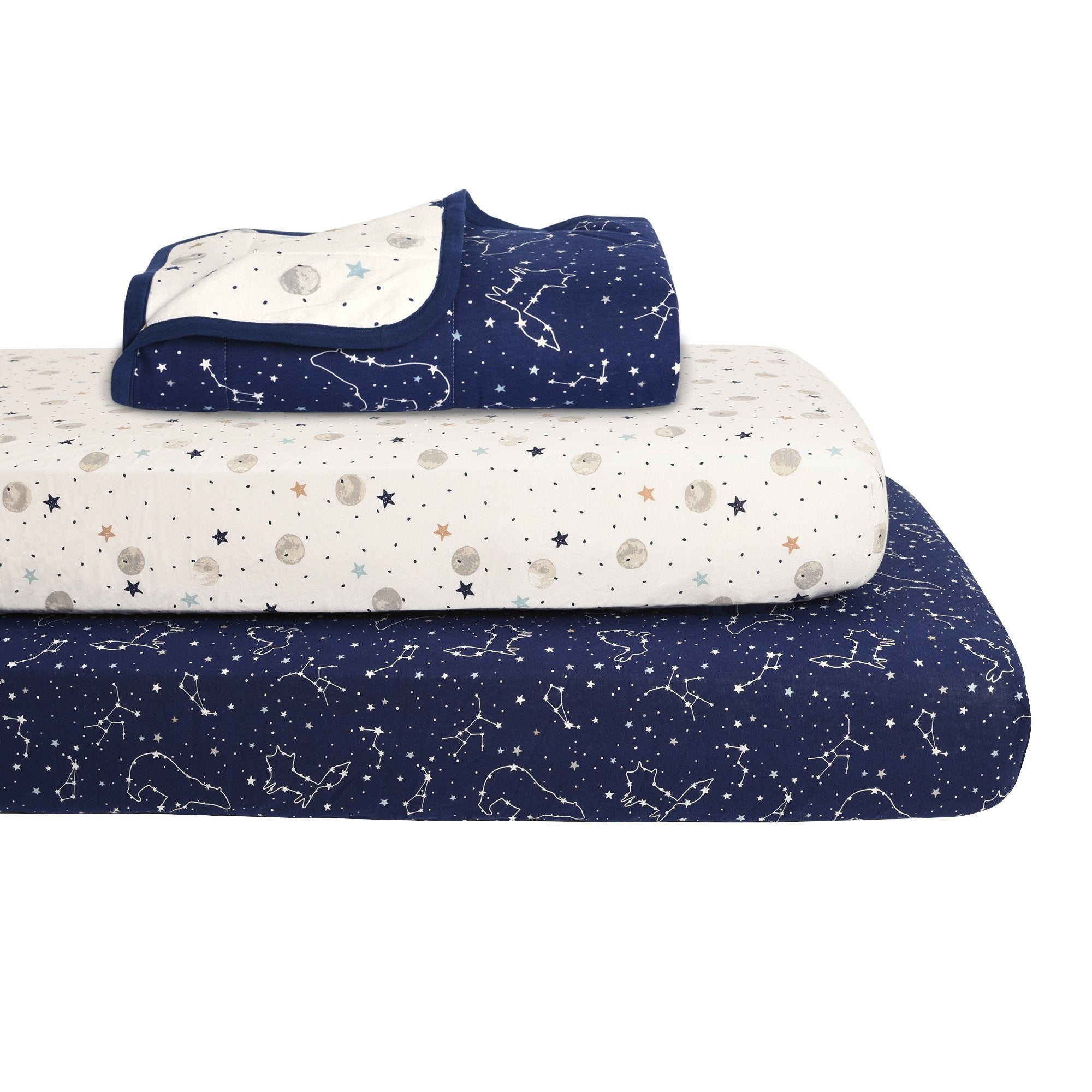 Baby's First by Nemcor 3-Piece Quilted Jersey Blanket and Fitted Sheet Crib Set, Starry Night