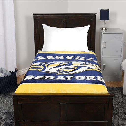 A blanket throw with the Nashville Predators logo