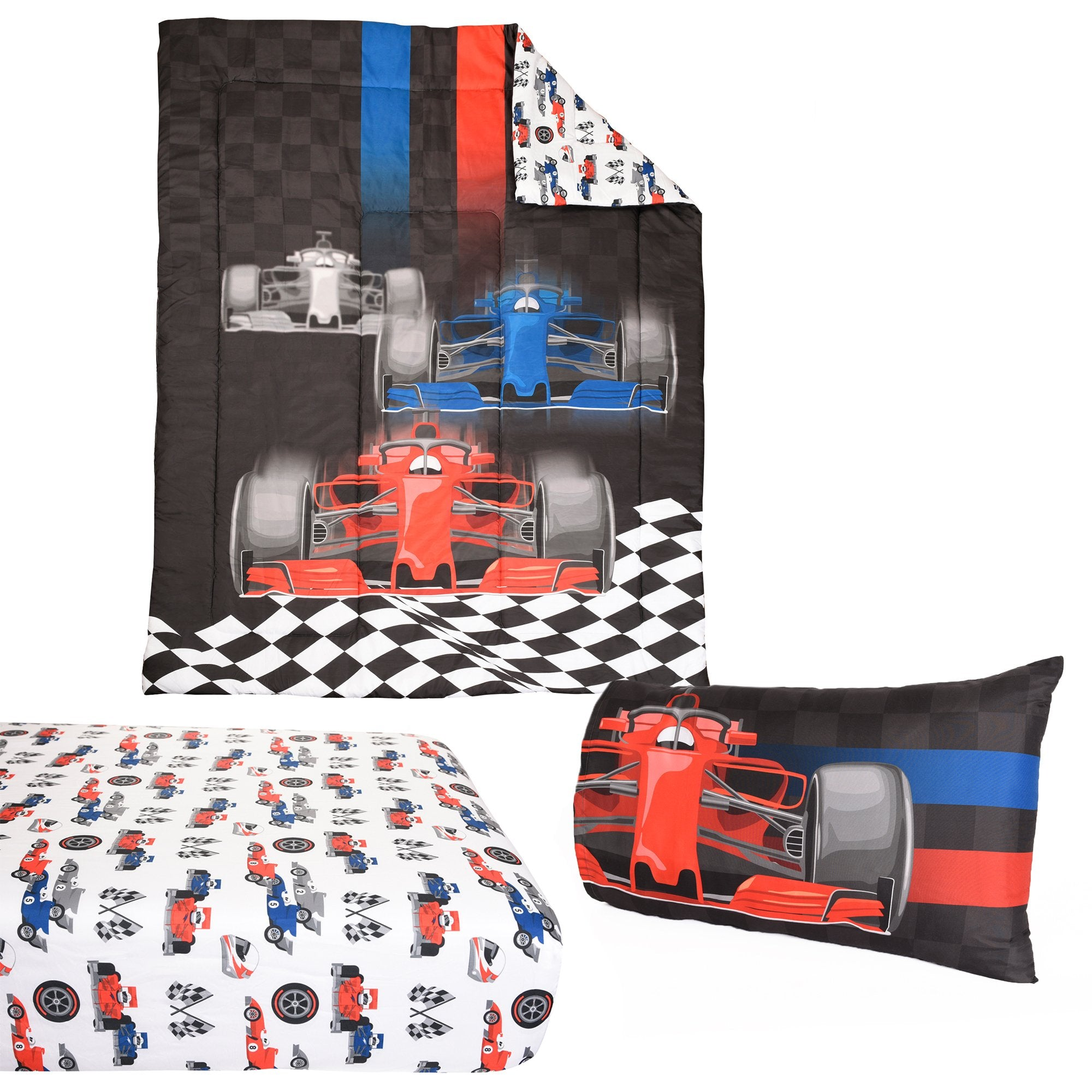 Race Car 4-Piece Twin Bedding Set