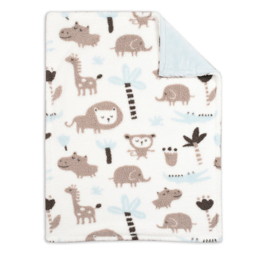 Baby's First Baby Blanket, Blue Printed Jungle Animal