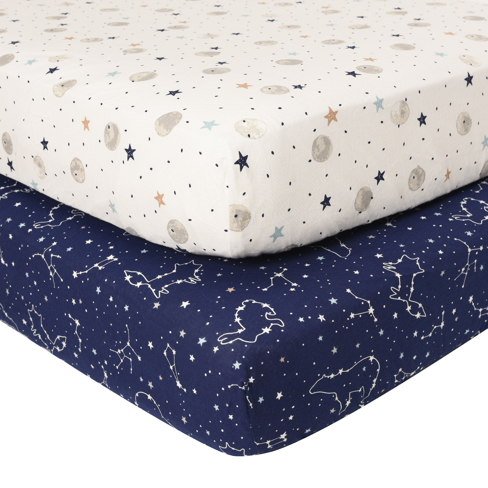 Baby's First by Nemcor, 2-Pack Jersey Mini Crib Sheets, Starry Night
