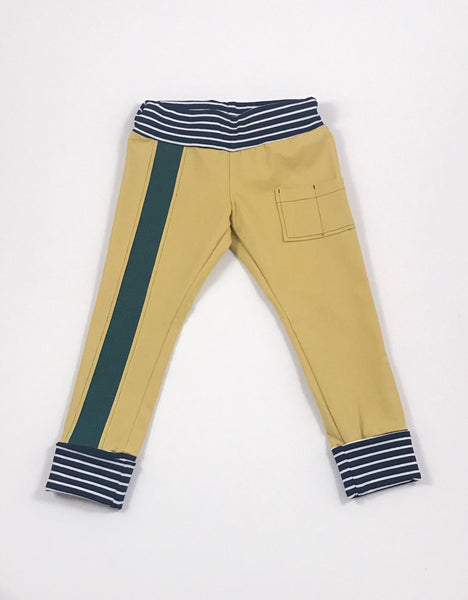 Denim yellow joggers with two patch pockets and front stripe