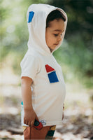 BB white short sleeve t-shirt with hood