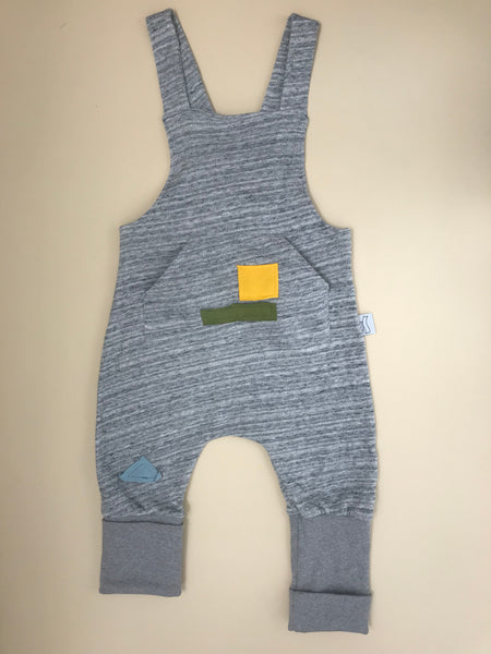 BB grey romper with front pocket and colourful patches