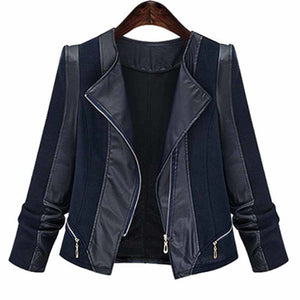 Faux Leather Patchwork Jacket