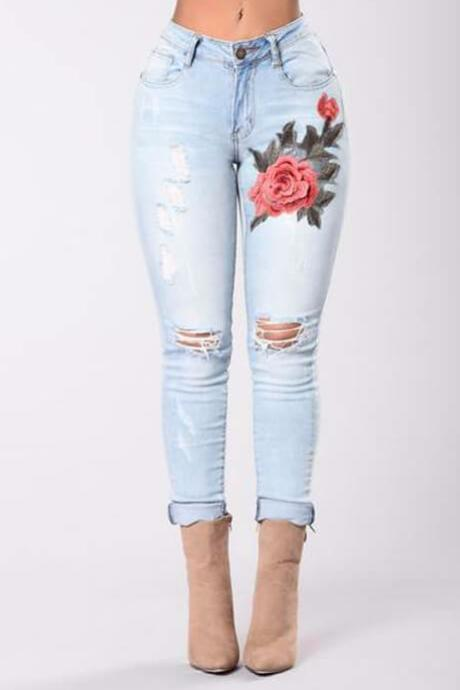 076f3403246c Iconhunt Embroidered Rip Skinny Jeans
