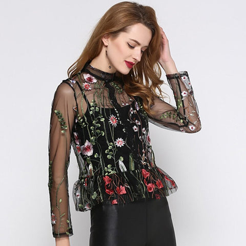 Floral Embroidered Mesh Top