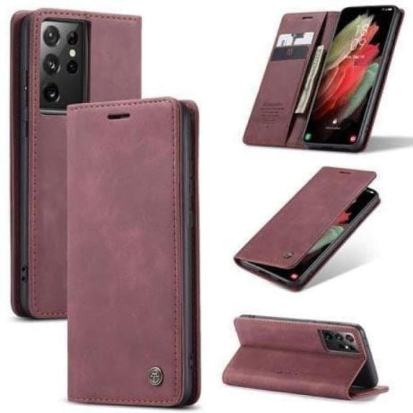 Galaxy S21+ Case - Vintage Leather Galaxy S21 Ultra Case - Belts, Buckles and Wallets