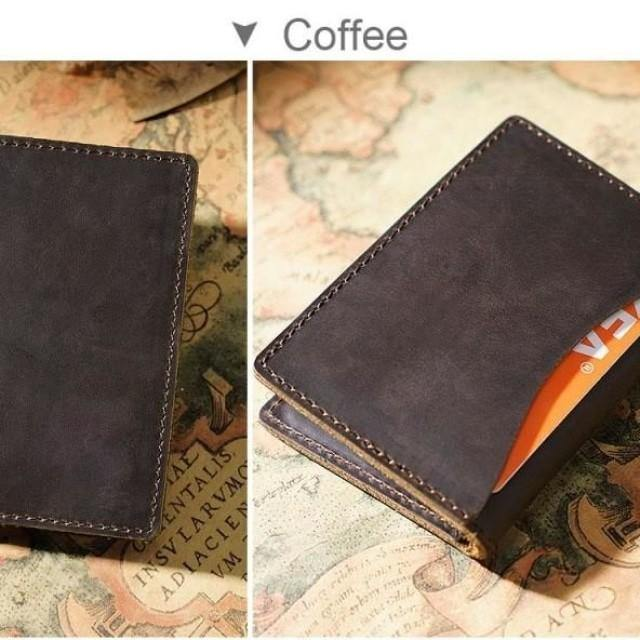 Minimalist Leather Wallet - Vintage Rustic Leather Wallet Card holder - Belts, Buckles and Wallets
