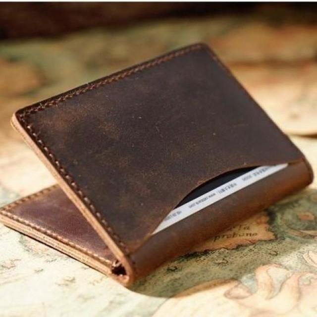 Vintage Rustic Minimalist Leather Wallet / Leather Wallet Cardholder