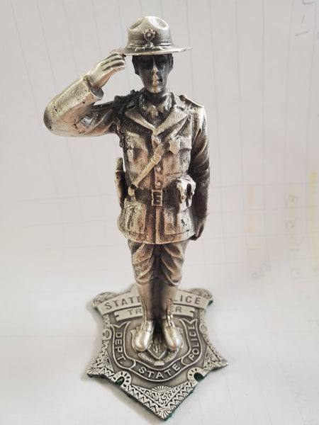 Hand Made Massachusetts State Trooper Pewter Figurine, Male