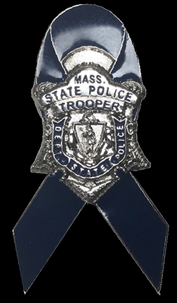Massachusetts State Police Blue Ribbon Lapel Pin Silver