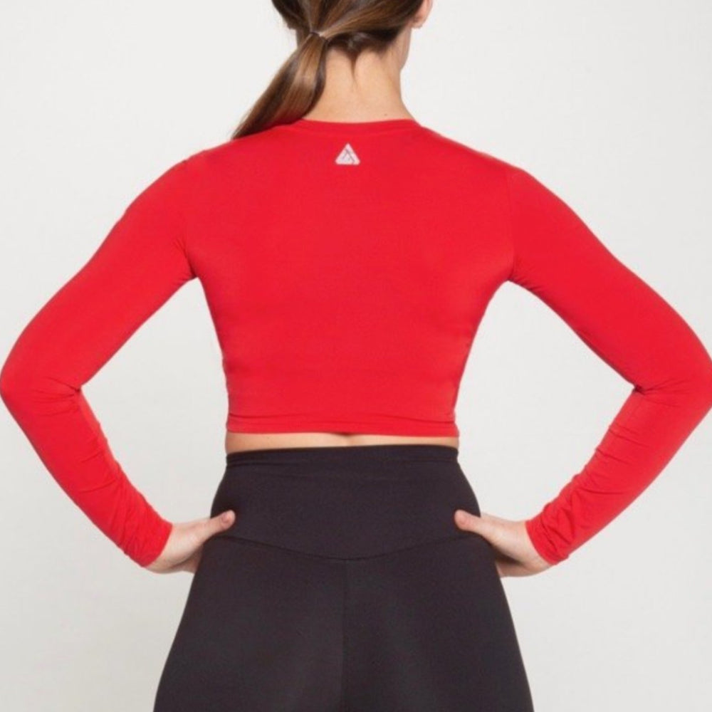 Tarrytown Long Sleeve Crop - Red