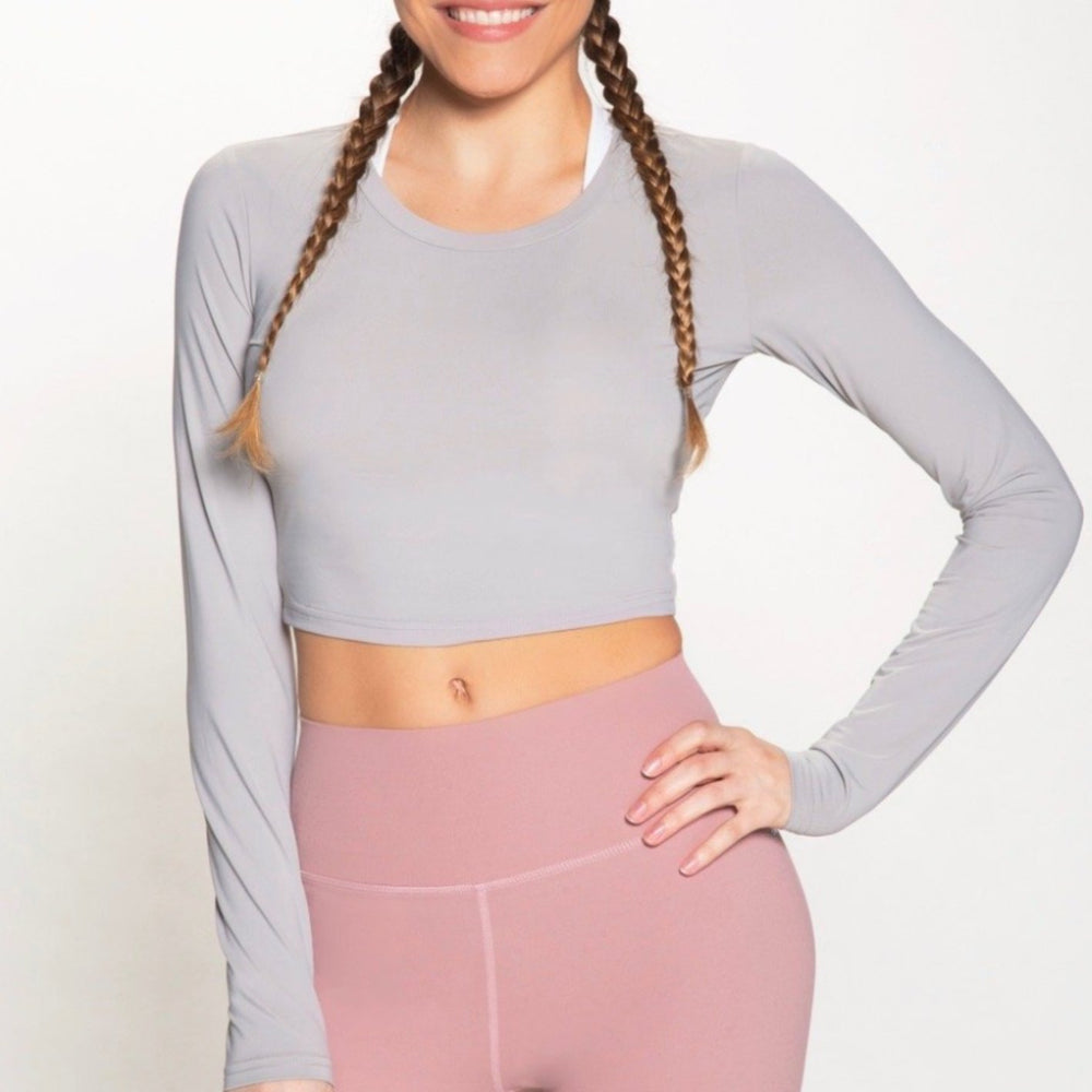 Tarrytown Long Sleeve Crop - Light Grey