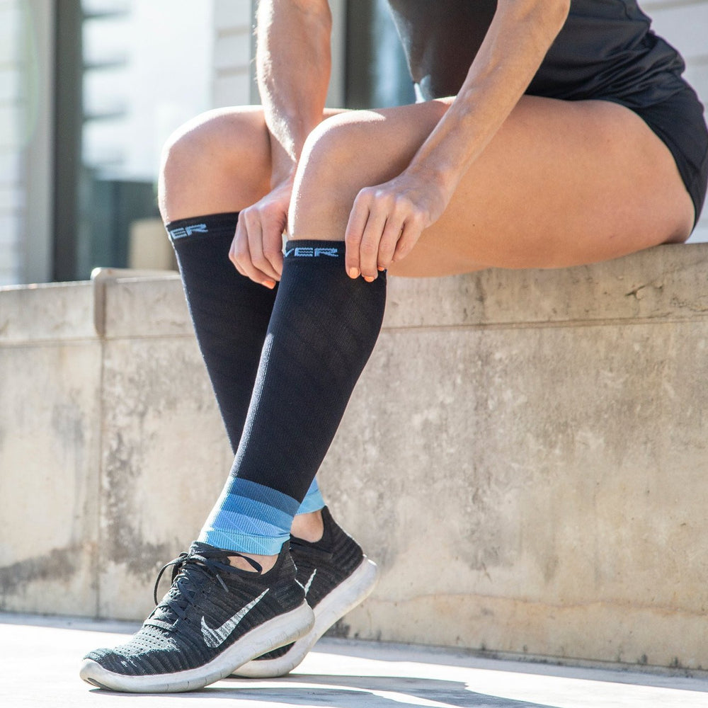 Ombré Compression Calf Sleeves   Black/Blue