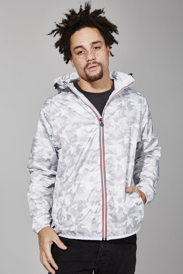 Max Print - White Camo Full Zip Packable Rain Jacket - Modern & Dandy