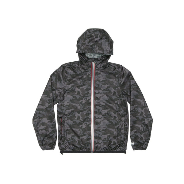 Max Print - Black Camo Full Zip Packable Rain Jacket - Modern & Dandy