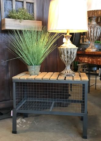 Wire Basket Accent Table