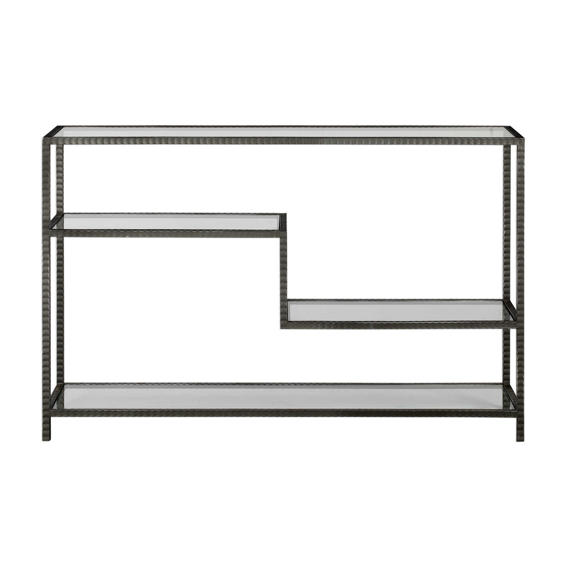 Gun Metal and Glass Console