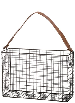 Leather Strap Metal Basket