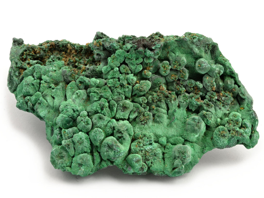 A raw malachite stone.