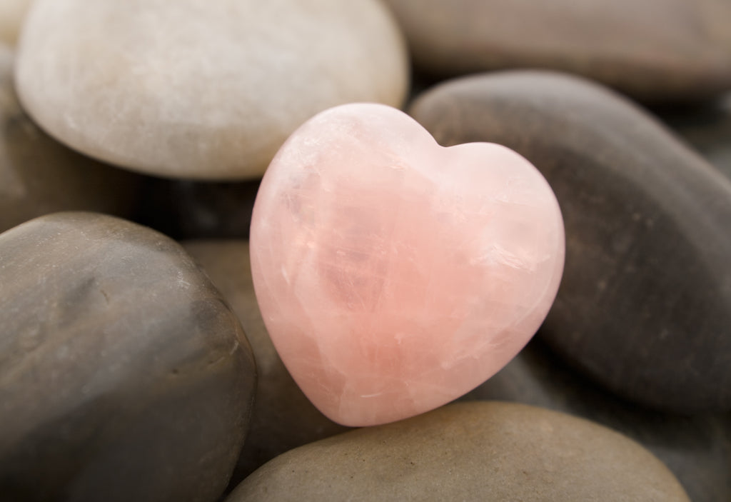 Heart-shared rose quarts with other stones.