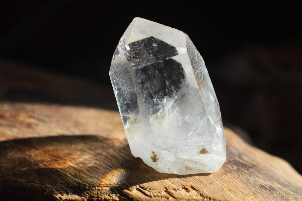 Clear quartz placed in light.