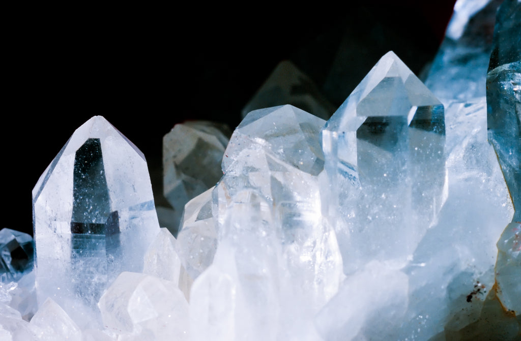Clear quartz crystals in cluster.