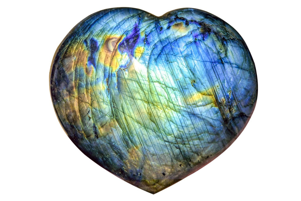 Heart-shaped labradorite.