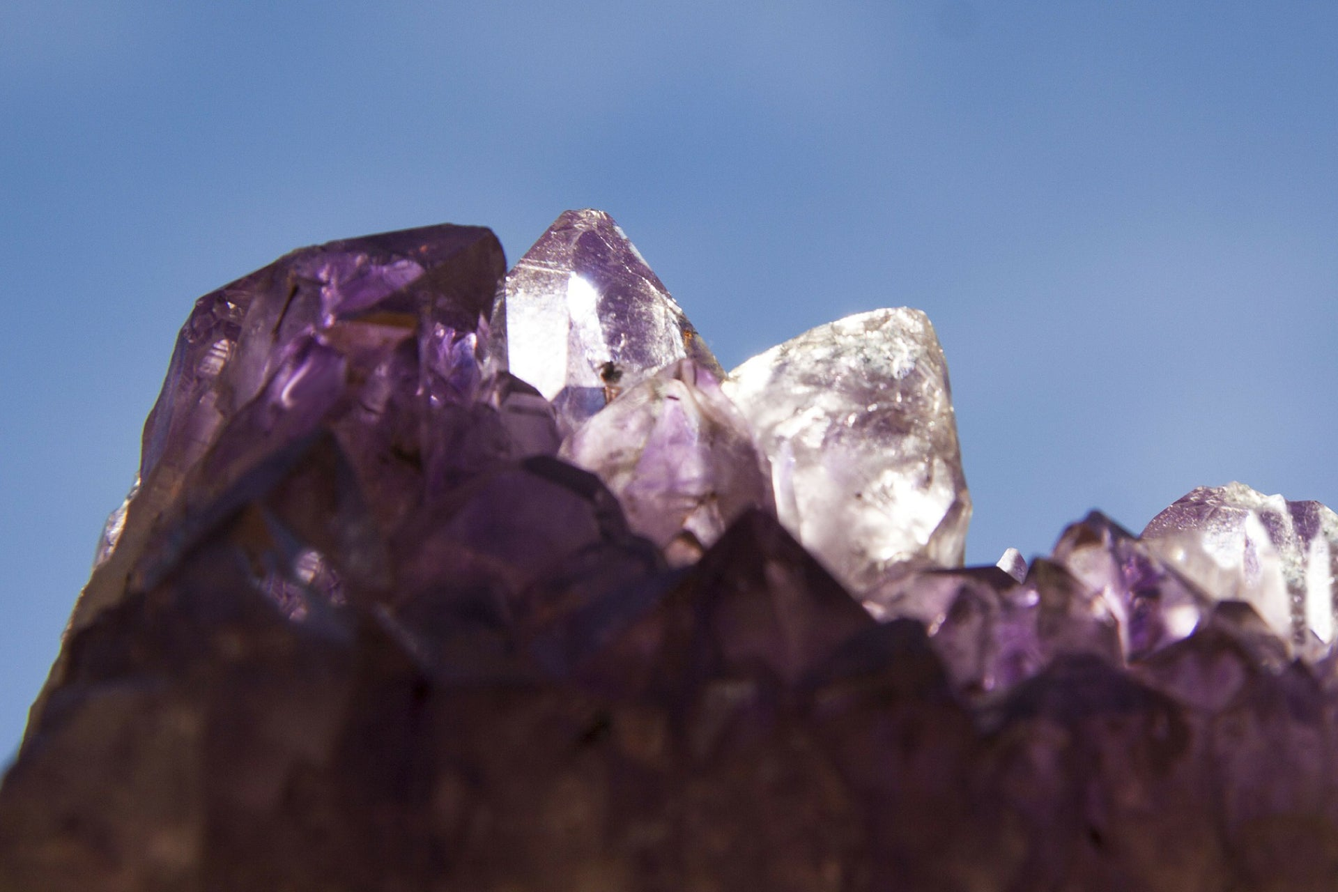 close up of an amethyst crystal cluster