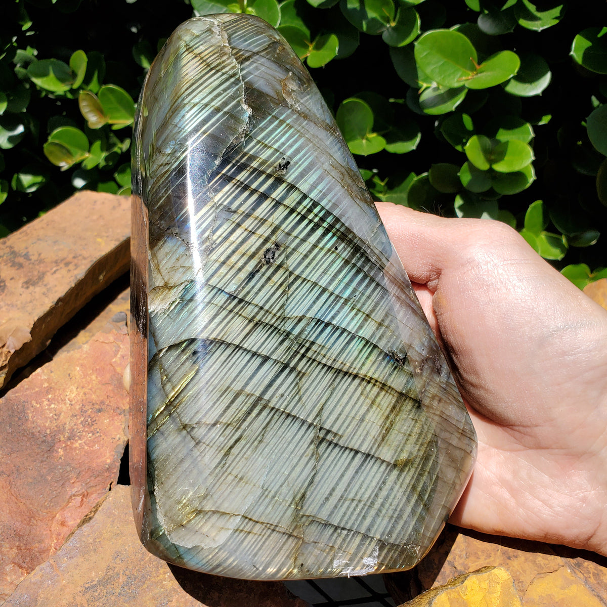 "6.87"" Polished Labradorite Crystal Mineral Specimen Slab Display from Madagascar"