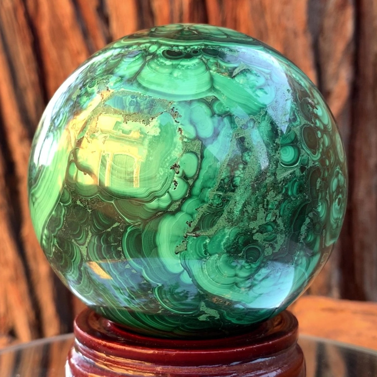 8.5cm 1.72kg Polished Malachite Sphere from Congo