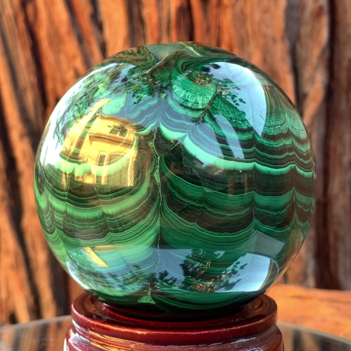 8cm 1.6kg Polished Malachite Sphere from Congo