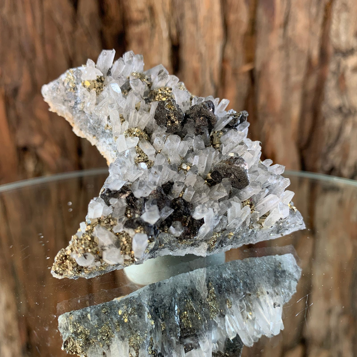 6.6cm 118g Pyrite, Clear Quartz, Sphalerite from Huaron, Peru