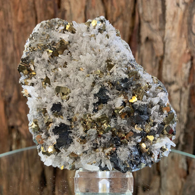 9.5cm 354g Pyrite, Clear Quartz, Sphalerite from Huaron, Peru