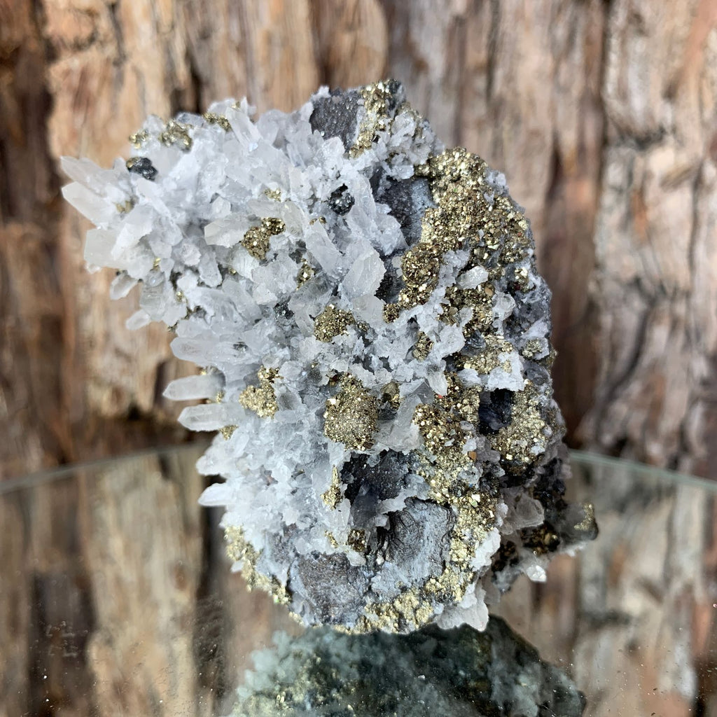 8cm 240g Pyrite, Clear Quartz from Huaron, Peru