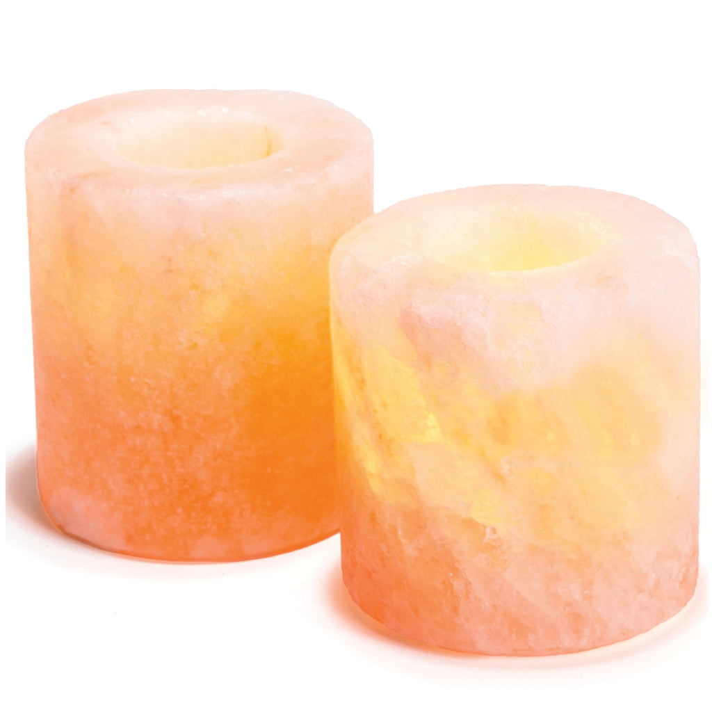 Pair of Himalayan Salt Candle Holders from Pakistan - Cylinder