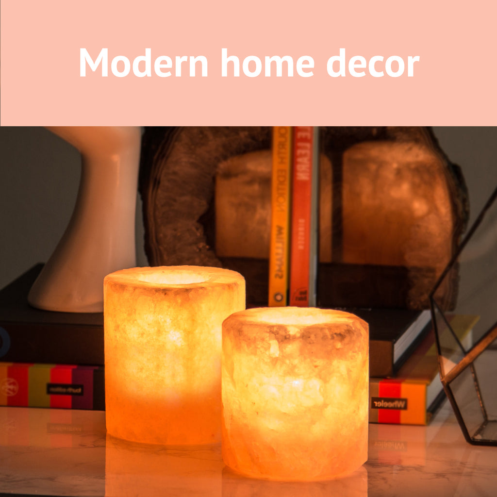 "6"" Himalayan Salt Lamp & Candle Holder Combo from Pakistan - Cylinder"