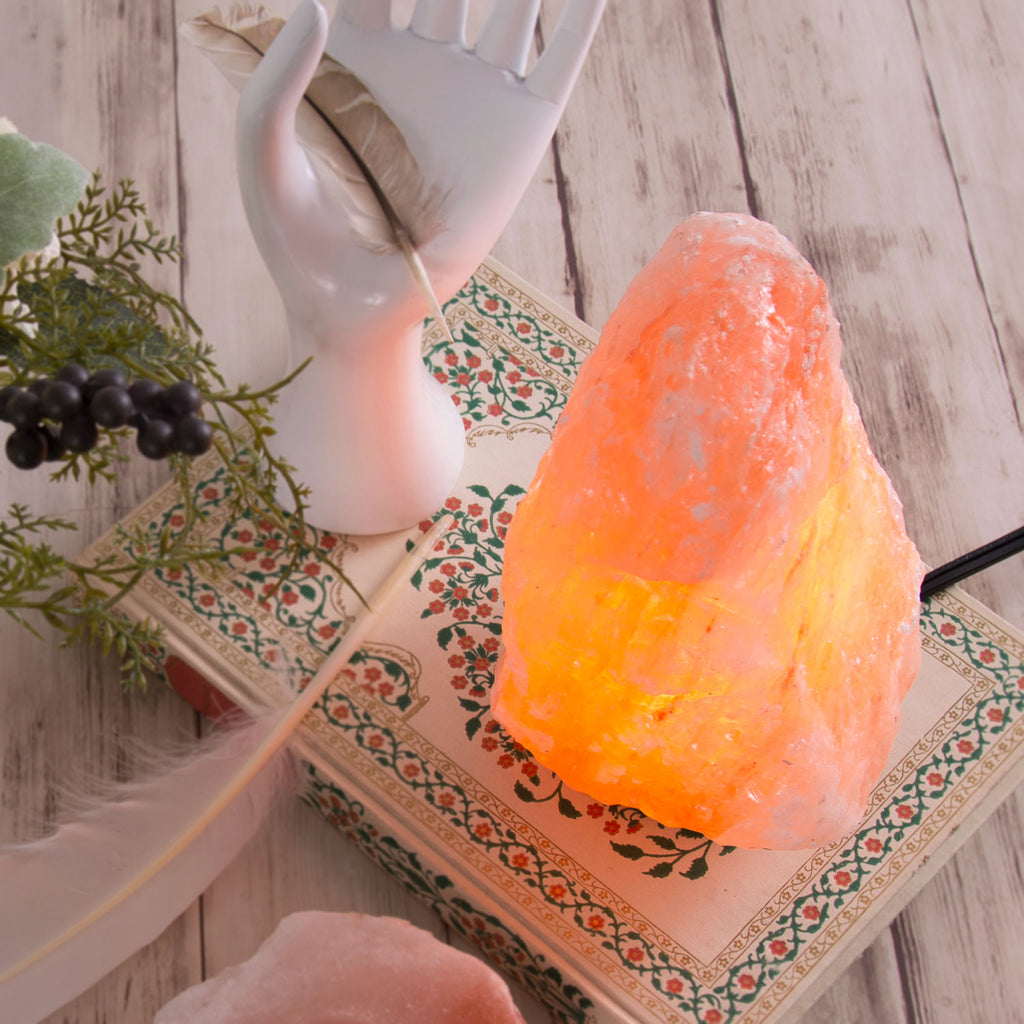 "6"" Himalayan Salt Lamp & Candle Holder Combo from Pakistan - Natural"