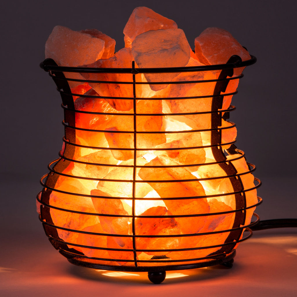 "6"" Himalayan Salt Lamp Wire Mesh Basket - Vase"