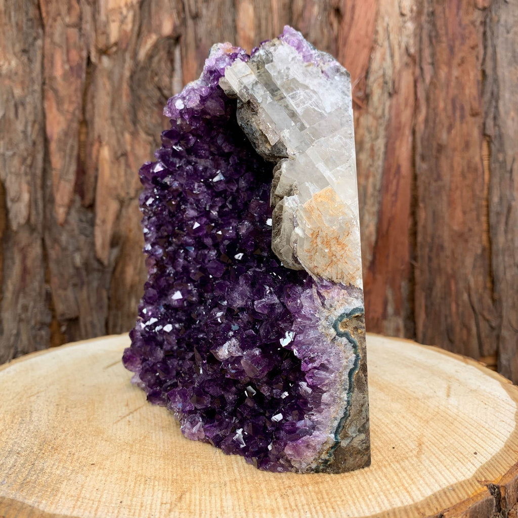 17cm 1.81kg Amethyst Crystal Cluster in Geode with Calcite from Uruguay