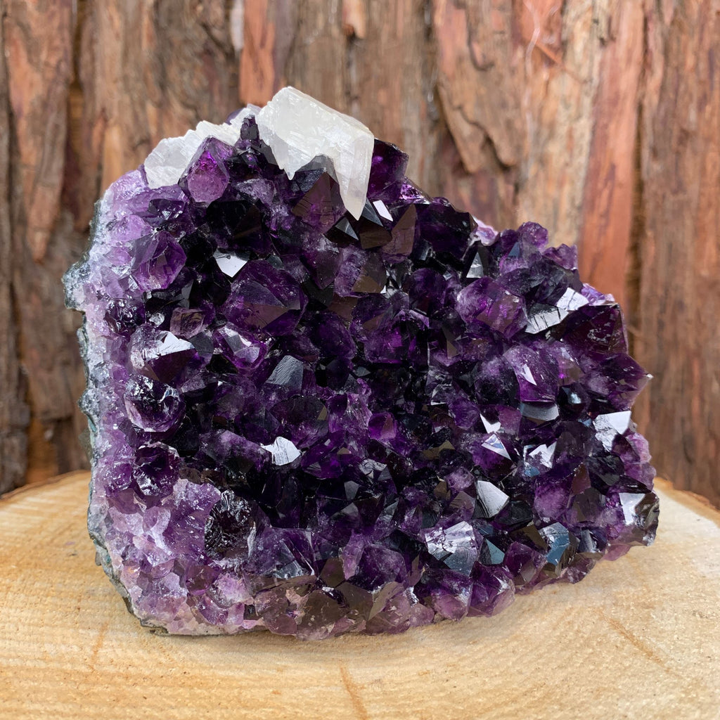 13cm 1.44kg Amethyst Crystal Cluster in Geode with Calcite from Uruguay
