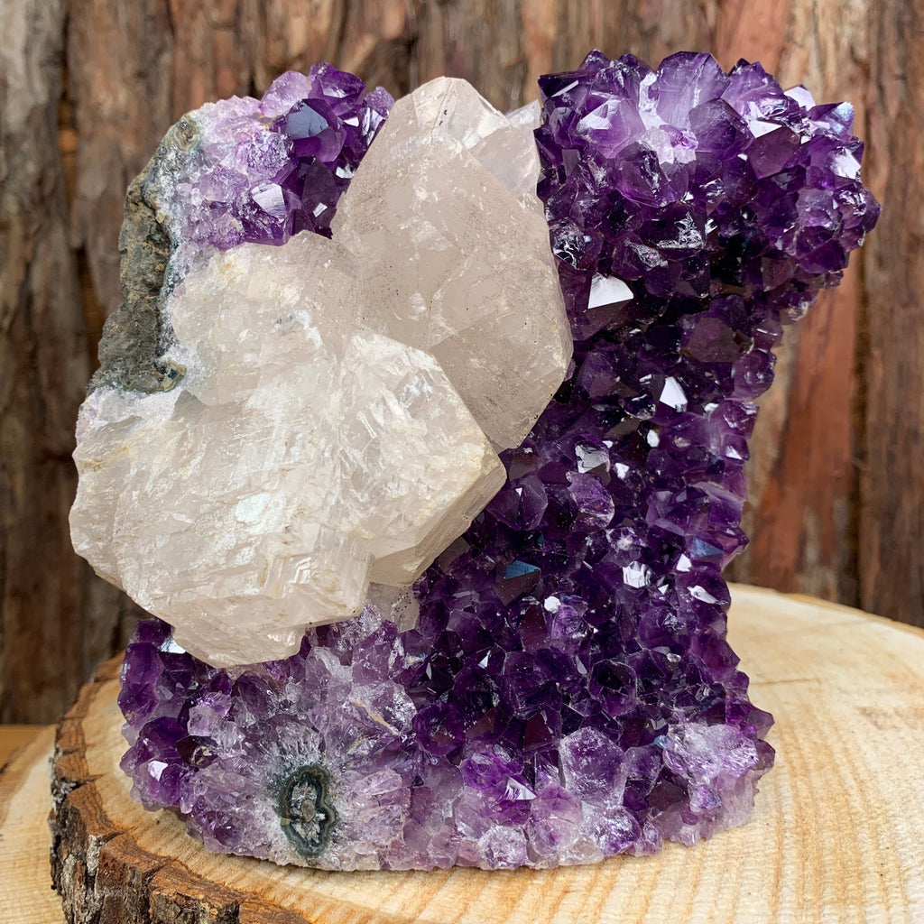 15.5cm 2.01kg Amethyst Crystal Cluster in Geode with Calcite from Uruguay