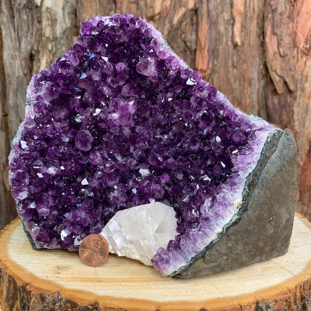 18.5cm 2.09kg Amethyst Crystal Cluster in Geode with Calcite from Uruguay