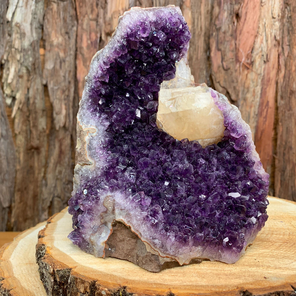 17.5cm 2.31kg Amethyst Crystal Cluster in Geode with Calcite from Uruguay