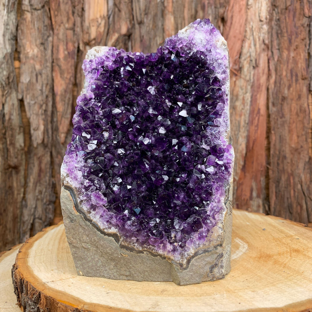 18cm 2.28kg Amethyst Crystal Cluster in Geode from Uruguay