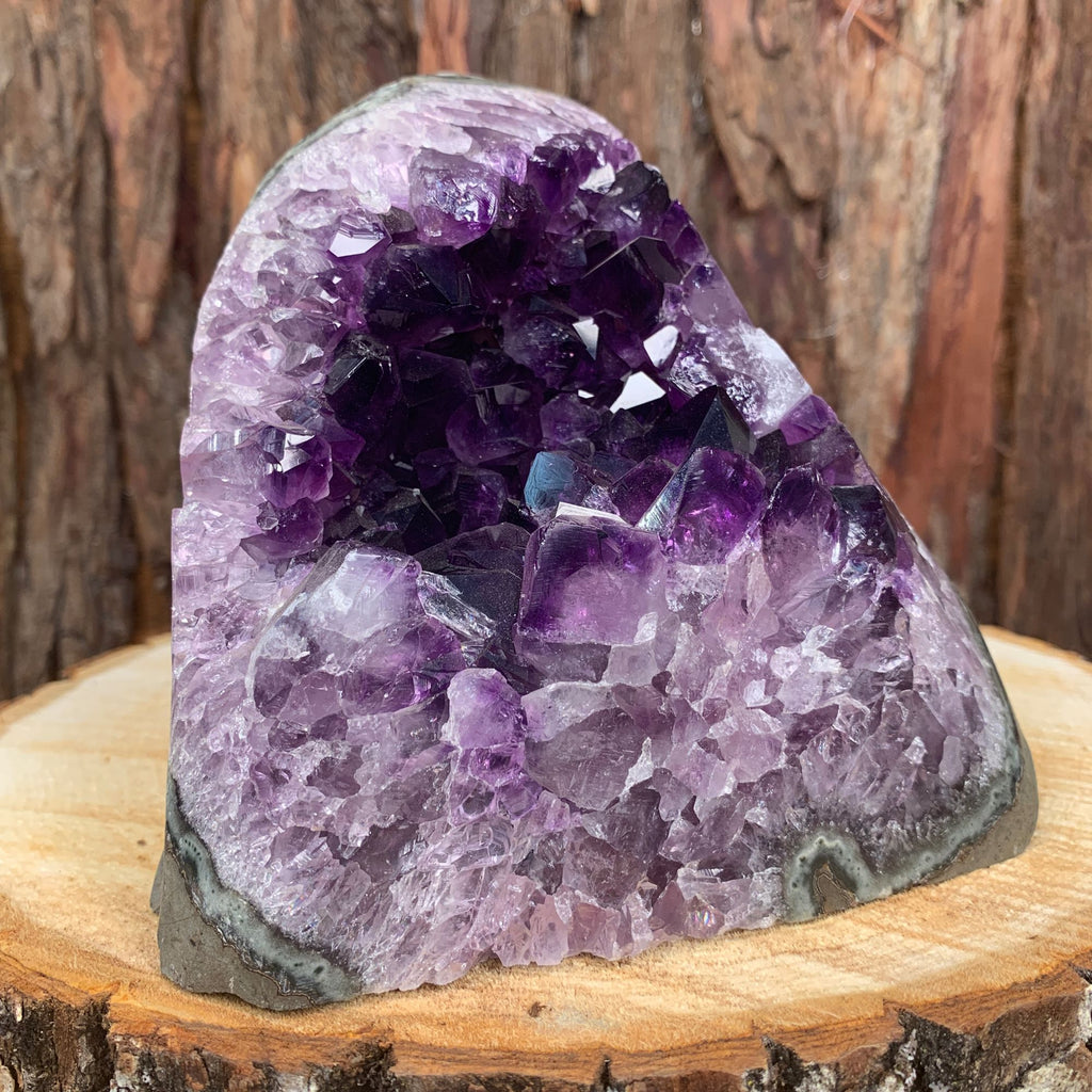 14cm 2.04kg Amethyst Crystal Cluster in Geode from Uruguay