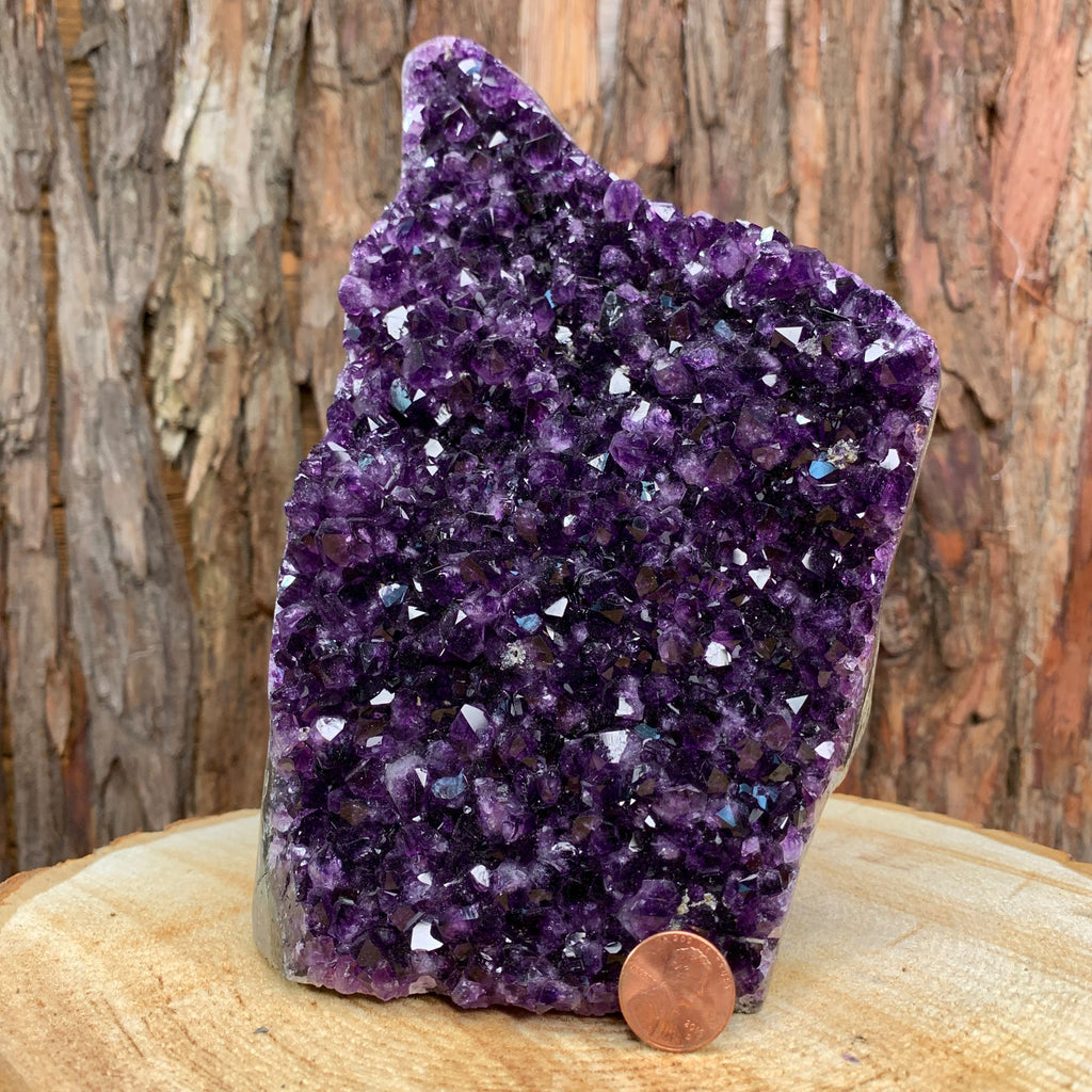 21cm 2.39kg Amethyst Crystal Cluster in Geode from Uruguay