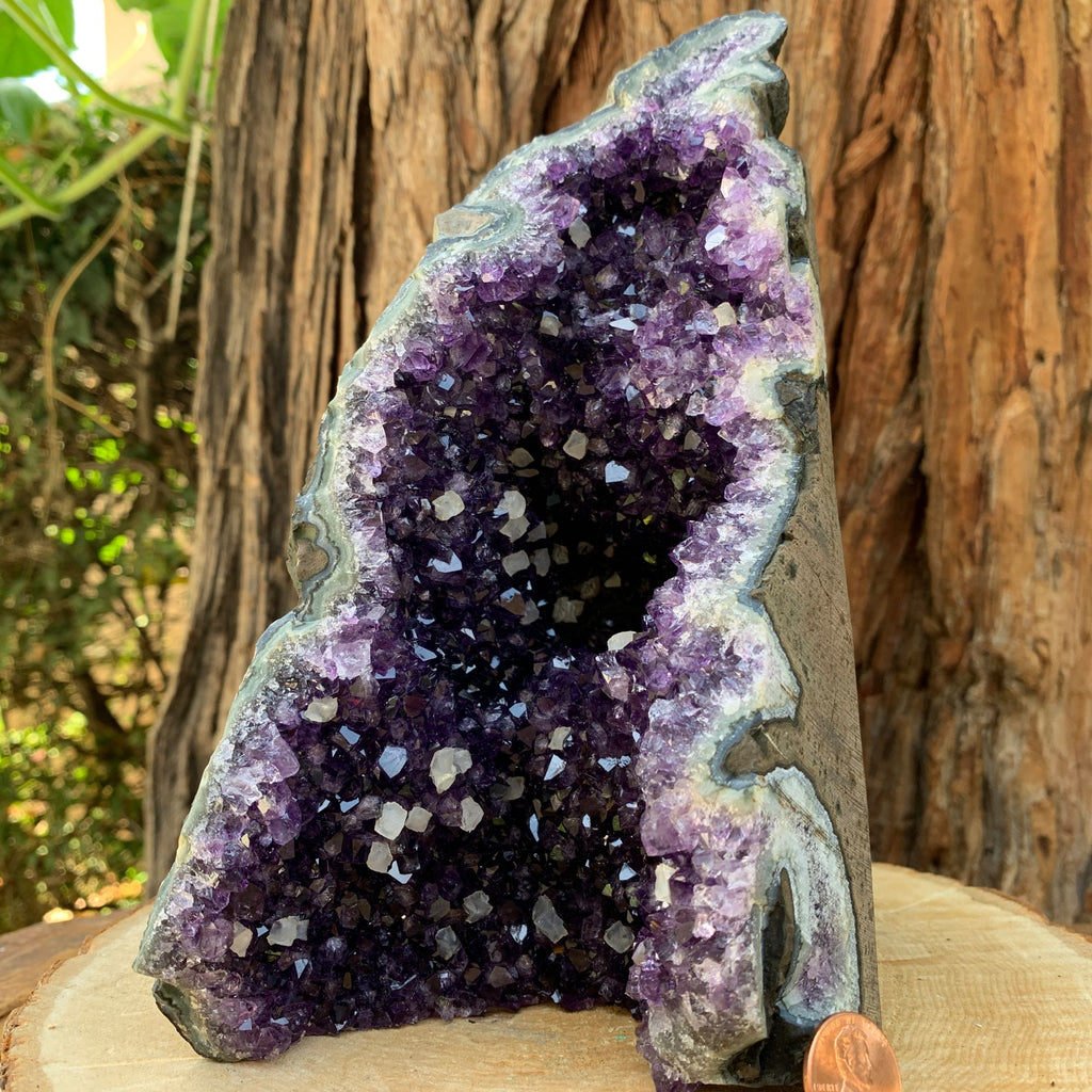 20.5cm 2.17kg Amethyst Crystal Cluster w/ Calcite in Geode from Uruguay